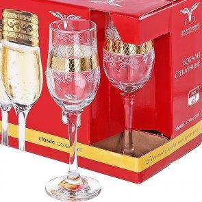 "Набор бокалов 190 мл для шампанского EAV25-160 рисунок ""Винтаж"" 6 шт., фото 2"