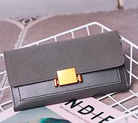 Женский кошелек с застежкой серый, фото 1