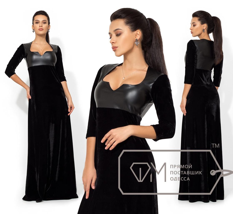 Бархатное платье в пол с кожаным лифом