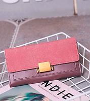 Розовый женский кошелек с застежкой, фото 1