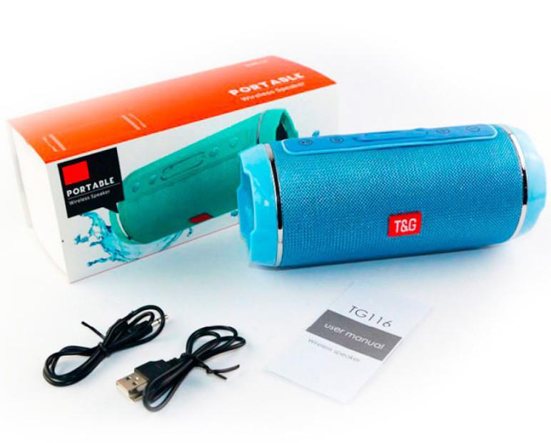 Беспроводная Bluetooth колонка стерео TG-116 голубая Limited Edition