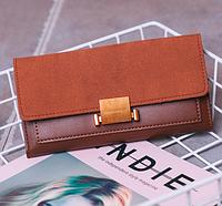 Женский коричневый кошелек с застежкой, фото 1