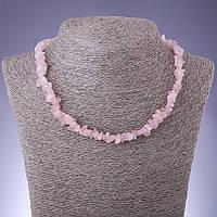 Бусы натуральный камень Розовый кварц крошка d-8мм L-45-50см с удлинительной цепочкой
