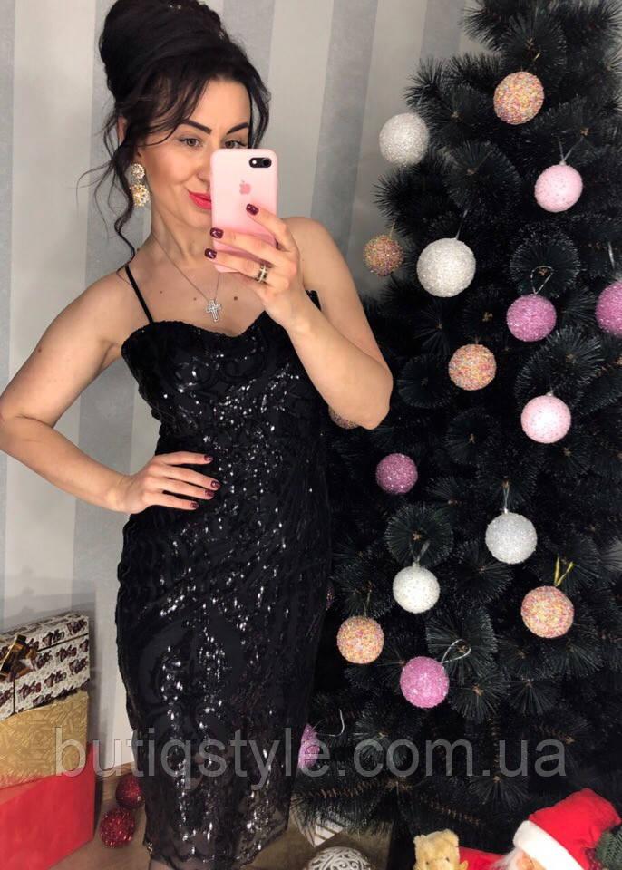 Красивое женское платье пайетки на бретелях только черное