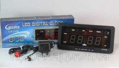 Часы CX 2158 green, Электронные часы, Настольные часы с подсветкой, Автомобильные часы от прикуривателя