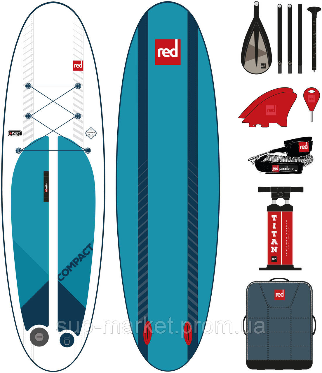 """SUP доска Red Paddle Co Compact 9'6'' x 32"""", 2019 (package)"""