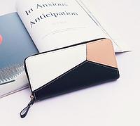 Черный трехцветый женский кошелек с ремешком на руку, фото 1