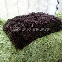 Чехол для подушки травка  50х70 см.   Декоративные пушистые наволочки для интерьера, цвет венге