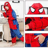 Теплая, мягкая детская пижама Кигуруми человек-паук 130 (на рост 130-140см)