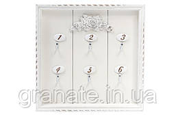 Ключница деревянная (6 крючков), цвет - состаренный белый