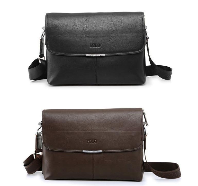 Мужская повседневная офисная модная стильная кожаная сумка портфель POLO Формат А4