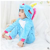 Теплая, мягкая детская пижама  Кигуруми голубой единорог 130 (на рост 130-140см)