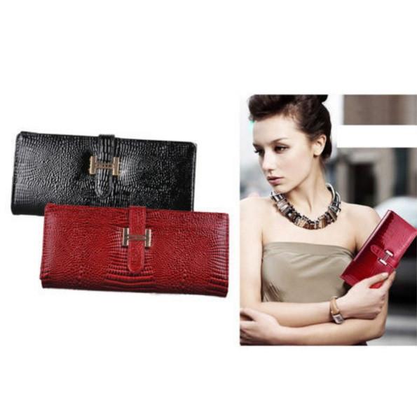 Женский кожаный кошелек портмоне с фактурой кожи крокодила