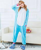 Теплая, мягкая пижама Кигуруми голубой единорог S (на рост 150-160см)