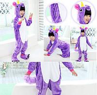 Теплая, мягкая детская пижама Кигуруми Фиолетовый единорог 130 (на рост 130-140см)