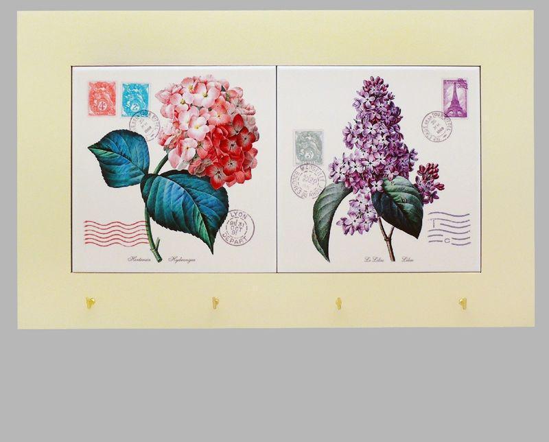 Панно настенное горизонтальное с крючками «Прованс. Цветы», 15х30, 38х23 см. 262-1409W
