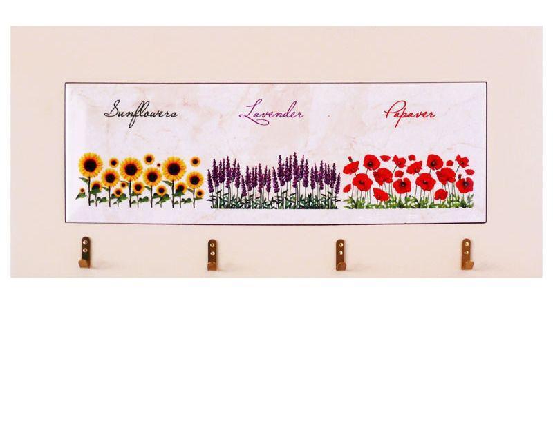 Панно настенное горизонтальное с крючками «Цветы», 10х30, 18х38 см. 262-1414W
