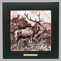 Панно настенное «Охота. Олени», 20х20, 28,5х28,5 см. (262-5013)
