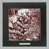 Панно настенное 'Охота. Олени', 20х20, 28х28 см. 262-5017