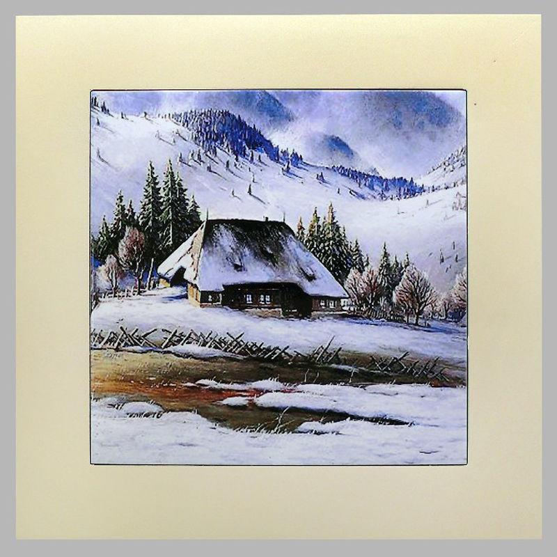 Панно настенное «Зима в горах», 20х20, 28х28 см. 262-5035W