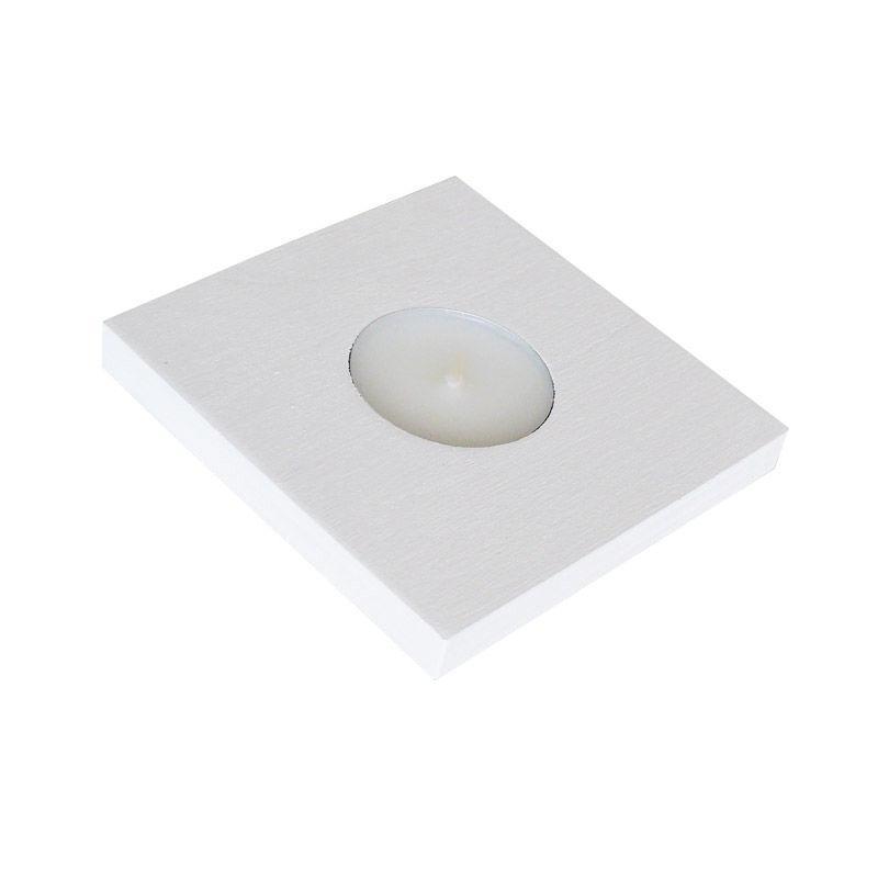 Сувенирный подсвечник, белый, 9,5х9,5 см. 262-7103