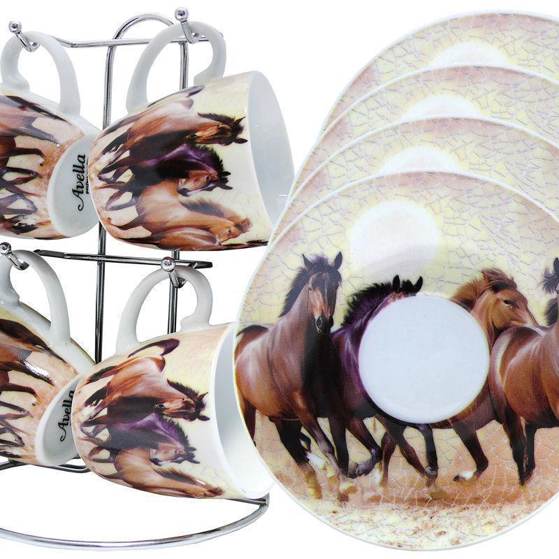 Набор чашек для кофе «Табун лошадей»: 4 чашки и 4 блюдца на подставке, 100 мл. 211-1007