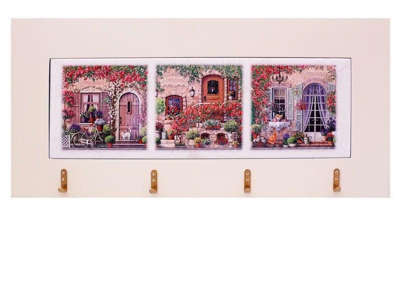 Панно настенное горизонтальное с крючками «Прованс», 10х30, 18х38 см. 262-1415W