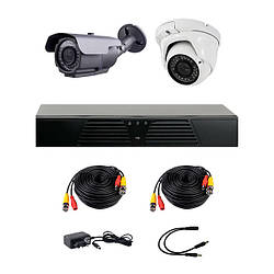 Комплект AHD видеонаблюдения на 1-у уличную и 1-у купольную камеры  CoVi Security HVK-2005 AHD PRO KIT