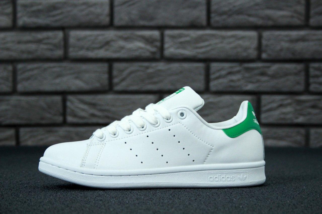 ... Adidas Stan Smith White Green   кроссовки мужские и женские  кожаные   белые с зеленым ... 38760c54167