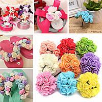 12pcs невесты букет бумага розы цветы с проволокой стебли Домой украшение партии 1TopShop