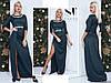 Ошатне смарагдове видовжене трикотажне жіноче плаття декорований стразами. Арт-7649/65