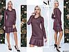 Ошатне бордове трикотажне жіноче плаття з люрексом декороване брошкою. Арт - 7651/65