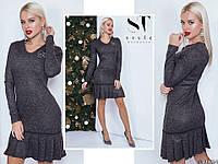 Ошатне чорне трикотажне жіноче плаття з люрексом декороване брошкою. Арт - 7651/65