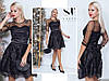 Шикарное черное женское платье с гипюровой юбкой топ декорирован бусинками. Арт - 7653/65