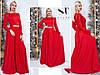 Яскраво-червоне ошатне жіноче видовжене плаття декорований стразами. Арт-7654/65