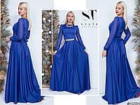 Ошатне жіноче видовжене плаття декорований стразами електрик. Арт-7654/65