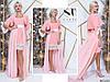 Шикарное нежно-розовое женское платье с шифоновым подъюпником и отделкой из гипюра. Арт-7655/65