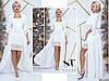 Шикарное белоснежное женское платье с шифоновым подъюпником и отделкой из гипюра. Арт-7655/65