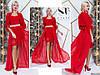 Шикарне яскраво-червона жіноча сукня з шифоновою под'юпніком і обробкою з гіпюру. Арт-7655/65