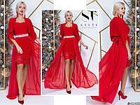 Шикарное ярко-красное женское платье с шифоновым подъюпником и отделкой из гипюра. Арт-7655/65