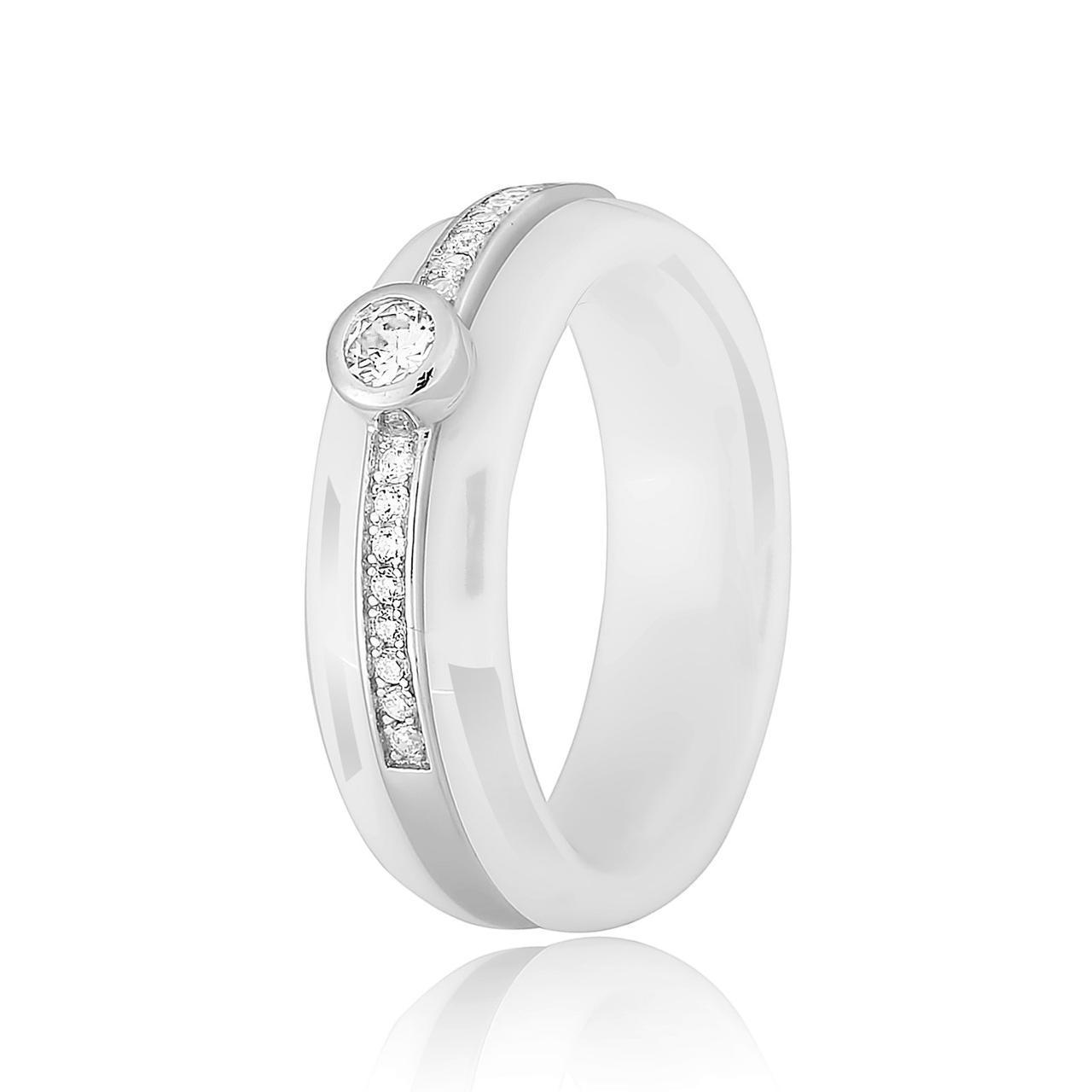 Серебрянное Кольцо MAZZARINI JEWELRY с фианитово-керамической вставкой размер 17 К2ФК1 1000-17, КОД: 301280