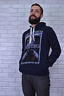 Батник мужской синий с капюшоном на флисе размер М