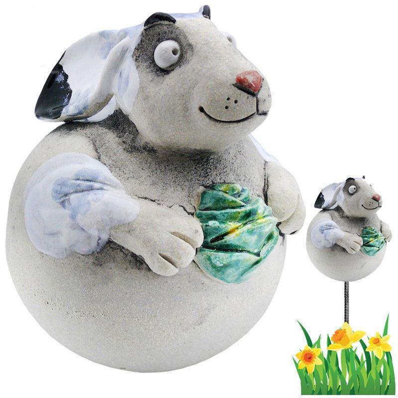 Фигура декор для сада «Кролик с капустой» h-17 см. GKW-1K