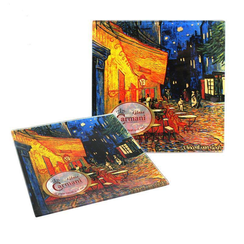 Тарелка стеклянная Ван Гог « Ночная терраса кафе» Carmani, 13х13 см (198-7309)