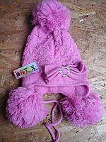 Шапочка вязанная двойная для девочки
