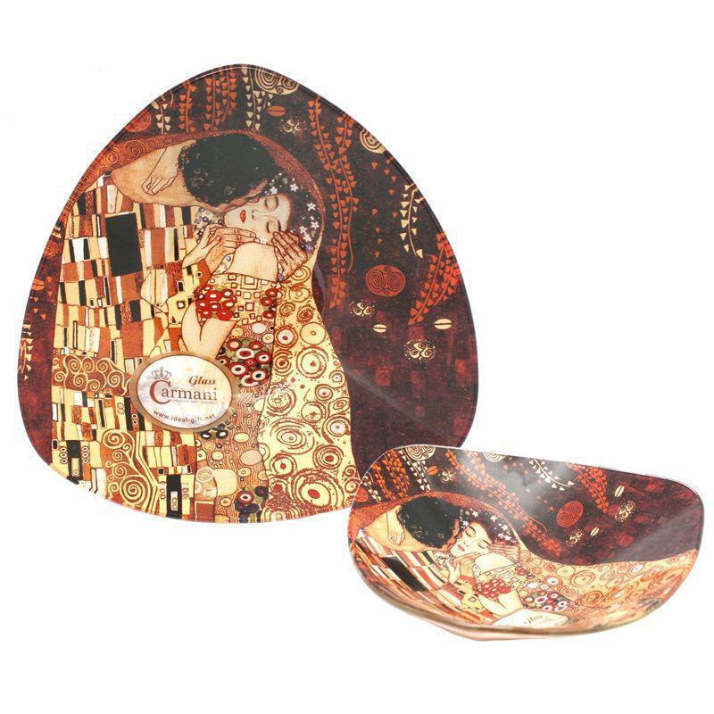 Стеклянная тарелка Г.Климт «Поцелуй» Carmani, 17х17 см (198-1131)