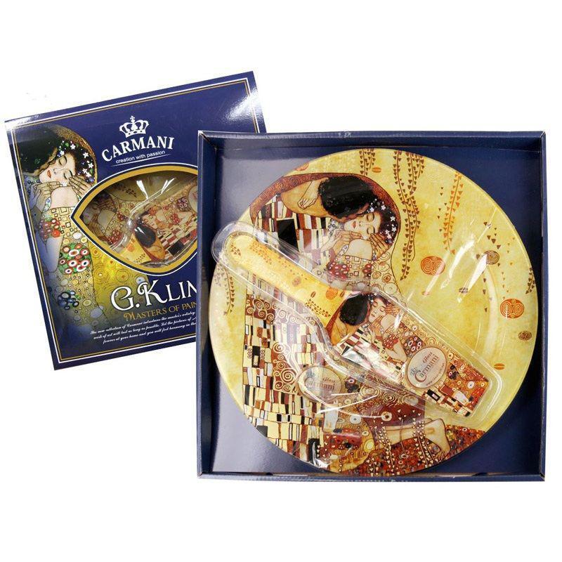 Стеклянная тарелка для торта с лопаткой Г.Климт «Поцелуй» Carmani, d-30 см 198-1221