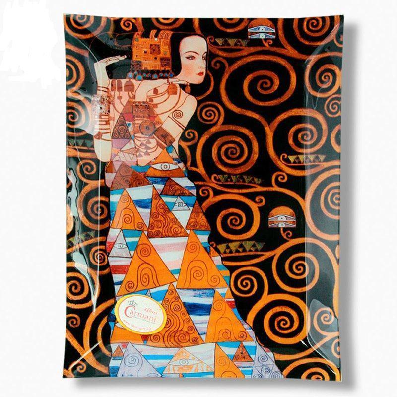 Стеклянная тарелка Г.Климт «Ожидание» Carmani, 32х24 см 198-1512