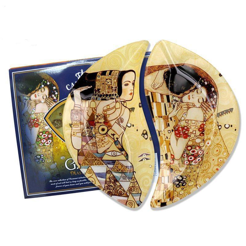 Набор стеклянных тарелок Г.Климт Carmani (2 шт.), 22,5х21 см (198-7023)