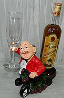 """Підставка """"Сомільє для пляшки і 1 бокала"""" червона 20*20 см SUV107 Подставка """"Сомилье для бутылки и 1 бокала"""""""